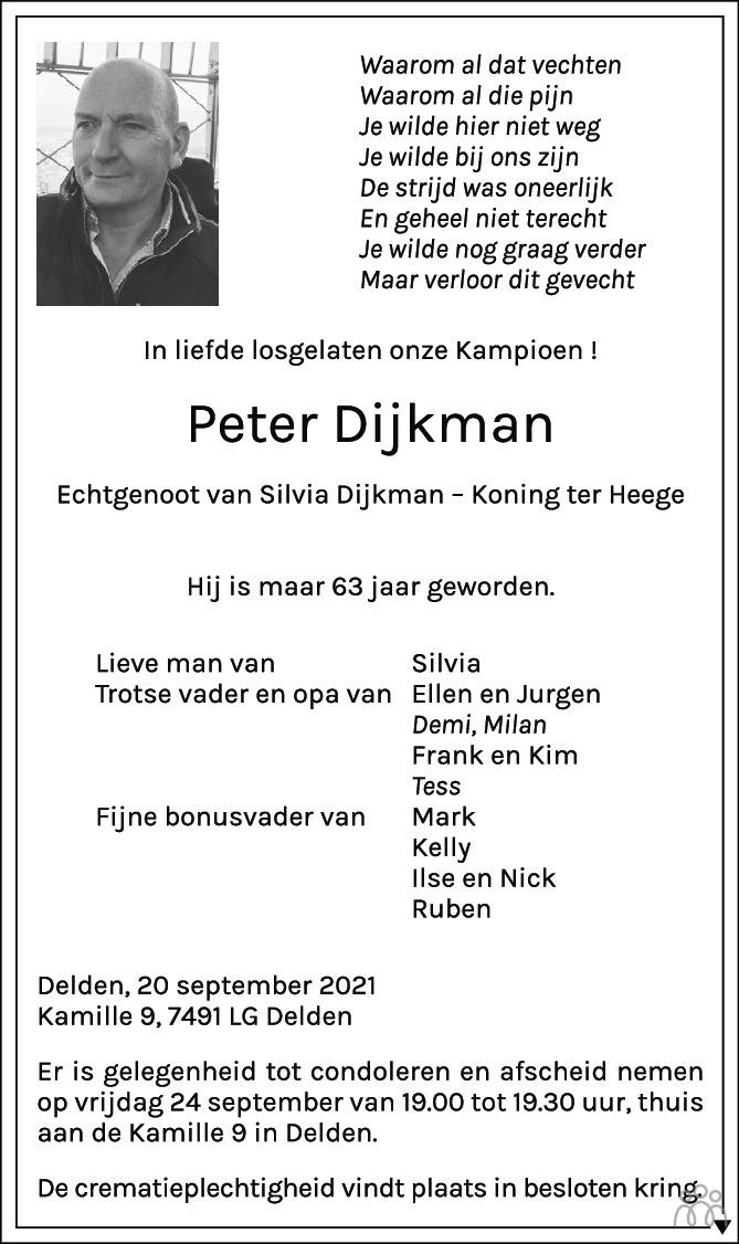 Overlijdensbericht van Peter Dijkman in Tubantia
