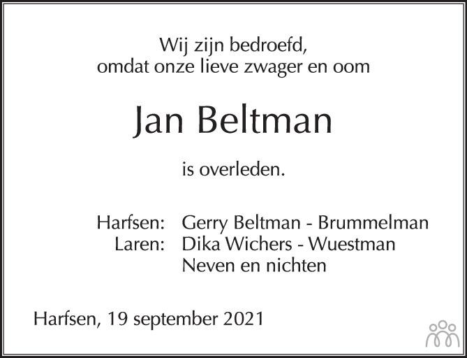 Overlijdensbericht van Jan Albert Beltman in de Stentor