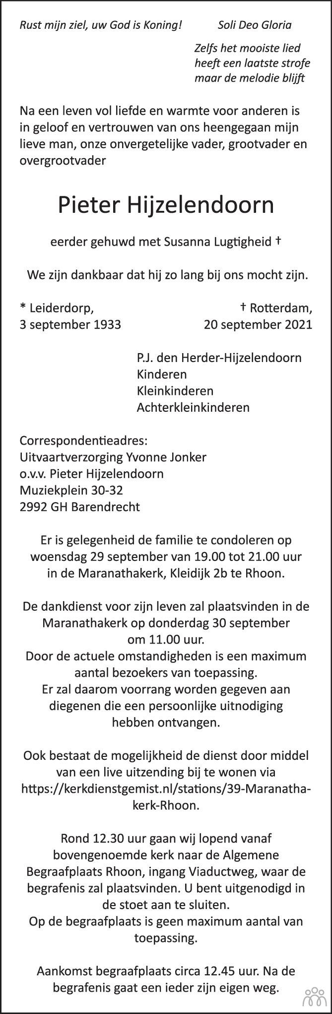 Overlijdensbericht van Pieter Hijzelendoorn in Trouw
