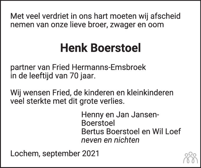 Overlijdensbericht van Hendrik Gerhard (Henk) Boerstoel in de Stentor