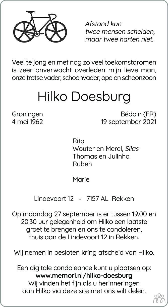 Overlijdensbericht van Hilko Doesburg in Tubantia