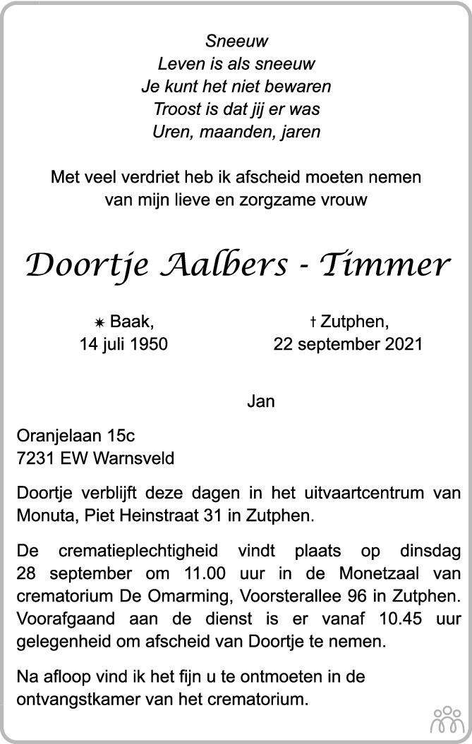 Overlijdensbericht van Doortje Aalbers-Timmer in de Stentor