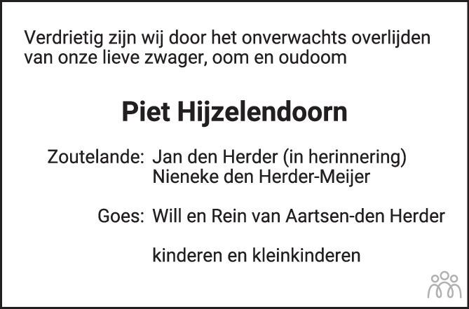 Overlijdensbericht van Pieter Hijzelendoorn in PZC Provinciale Zeeuwse Courant