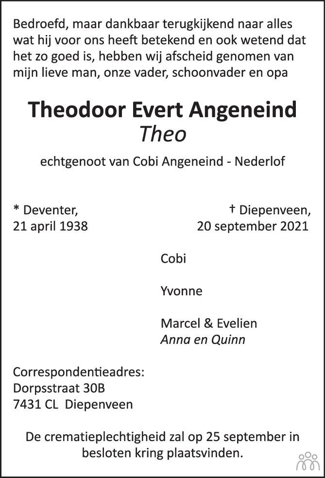 Overlijdensbericht van Theodoor Evert (Theo) Angeneind in de Stentor