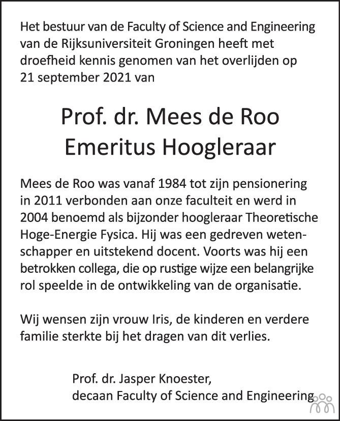 Overlijdensbericht van Mees de Roo in de Volkskrant