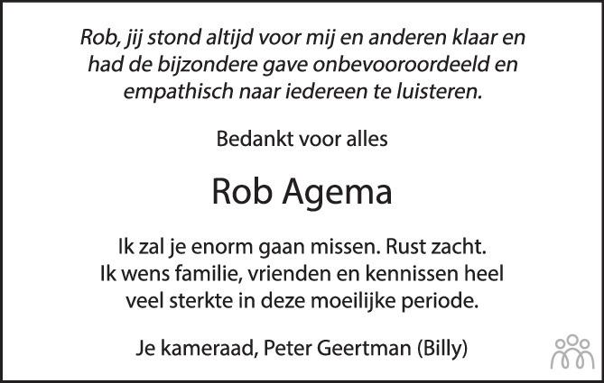 Overlijdensbericht van Robert Theodoor Johannes (Rob) Agema in de Stentor