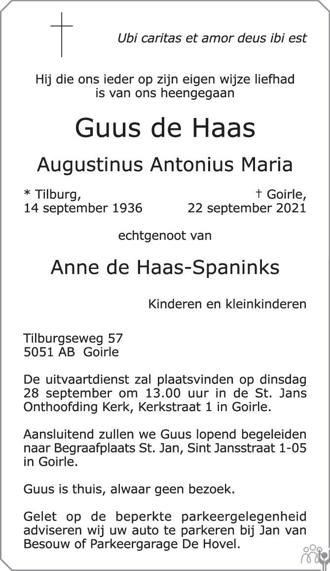Overlijdensbericht van Guus (Augustinus Antonius Maria) de Haas in Brabants Dagblad