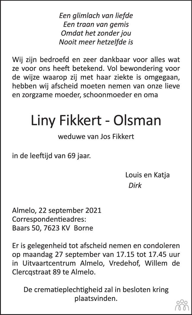 Overlijdensbericht van Liny Fikkert-Olsman in Tubantia