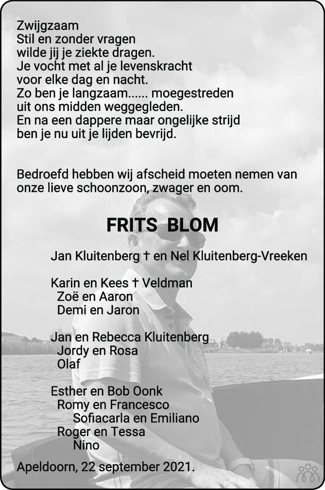 Overlijdensbericht van Feitse Adrianus (Frits) Blom in de Stentor