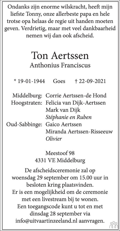 Overlijdensbericht van Ton (Anthonius Franciscus) Aertssen in PZC Provinciale Zeeuwse Courant