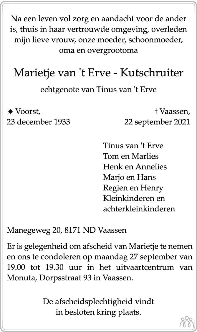 Overlijdensbericht van Marietje van 't Erve-Kutschruiter in de Stentor