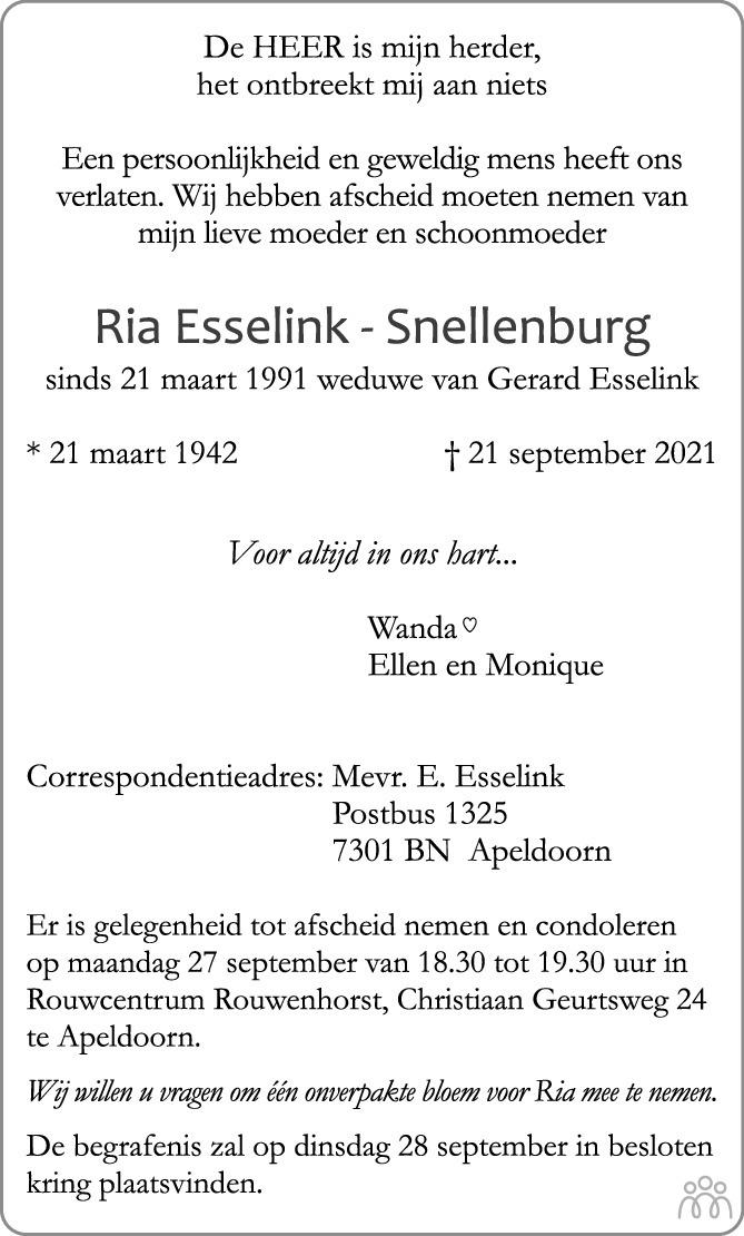 Overlijdensbericht van Ria Esselink-Snellenburg in de Stentor