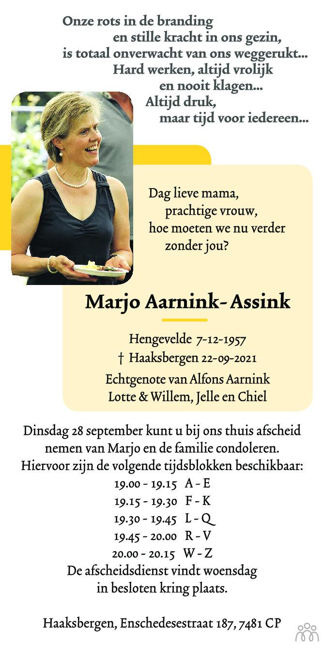 Overlijdensbericht van Marjo Aarnink-Assink in Tubantia