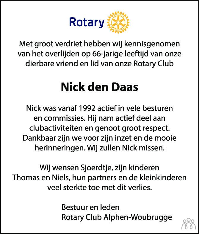 Overlijdensbericht van Nick den Daas in AD Algemeen Dagblad