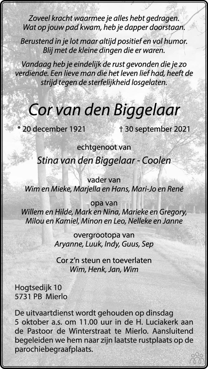 Overlijdensbericht van Cor van den Biggelaar in Eindhovens Dagblad