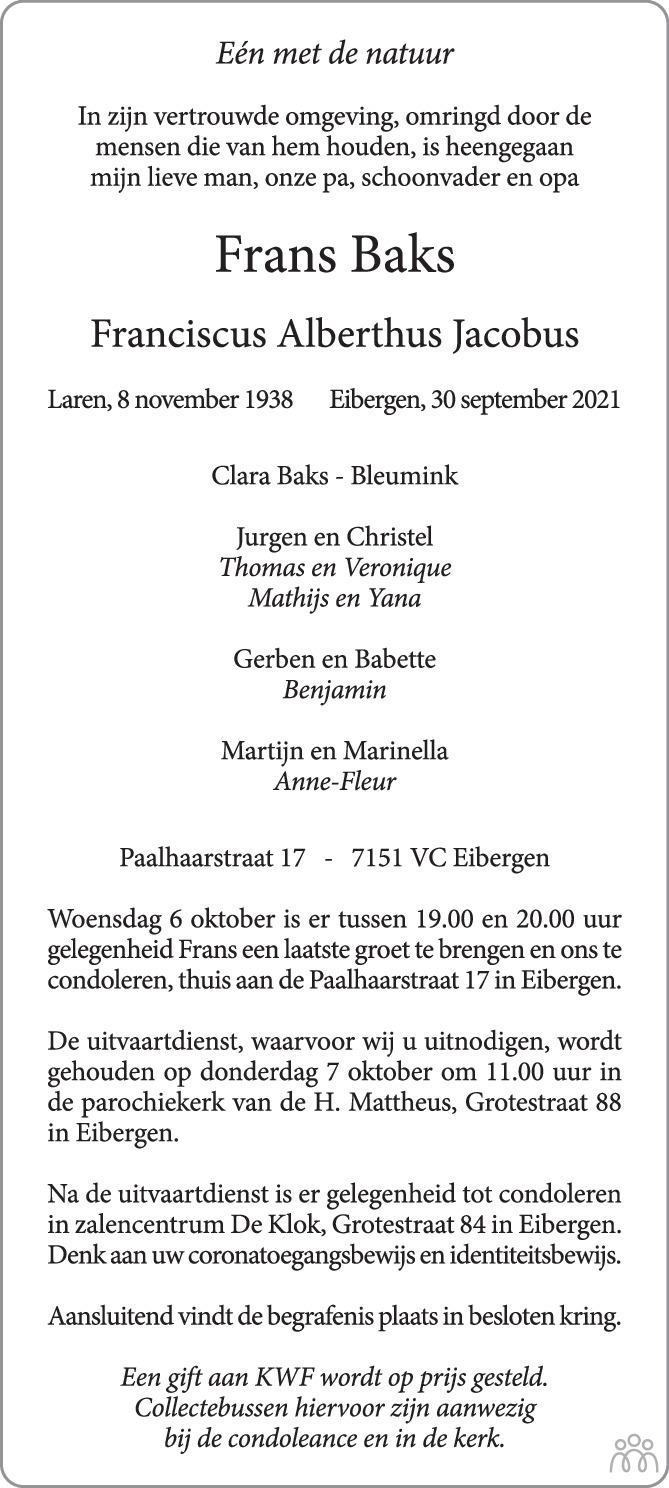 Overlijdensbericht van Frans (Franciscus Alberthus Jacobus) Baks in Tubantia