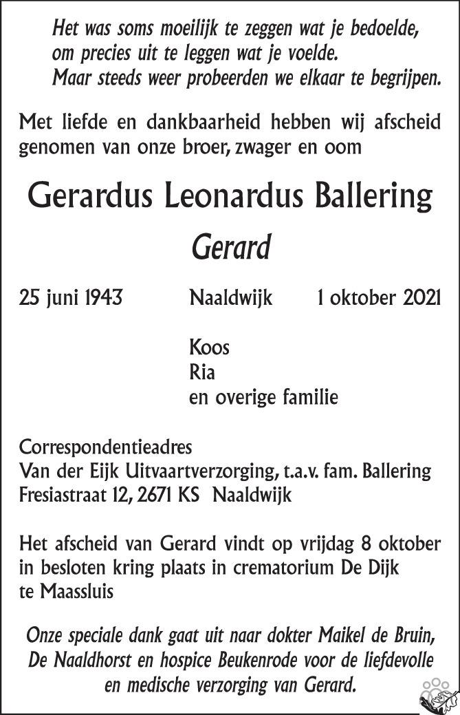 Overlijdensbericht van Gerardus Leonardus (Gerard) Ballering in AD Algemeen Dagblad