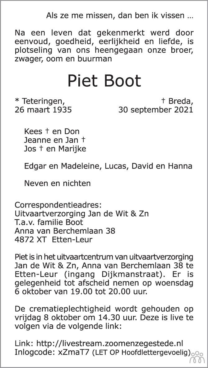 Overlijdensbericht van Piet Boot in BN DeStem