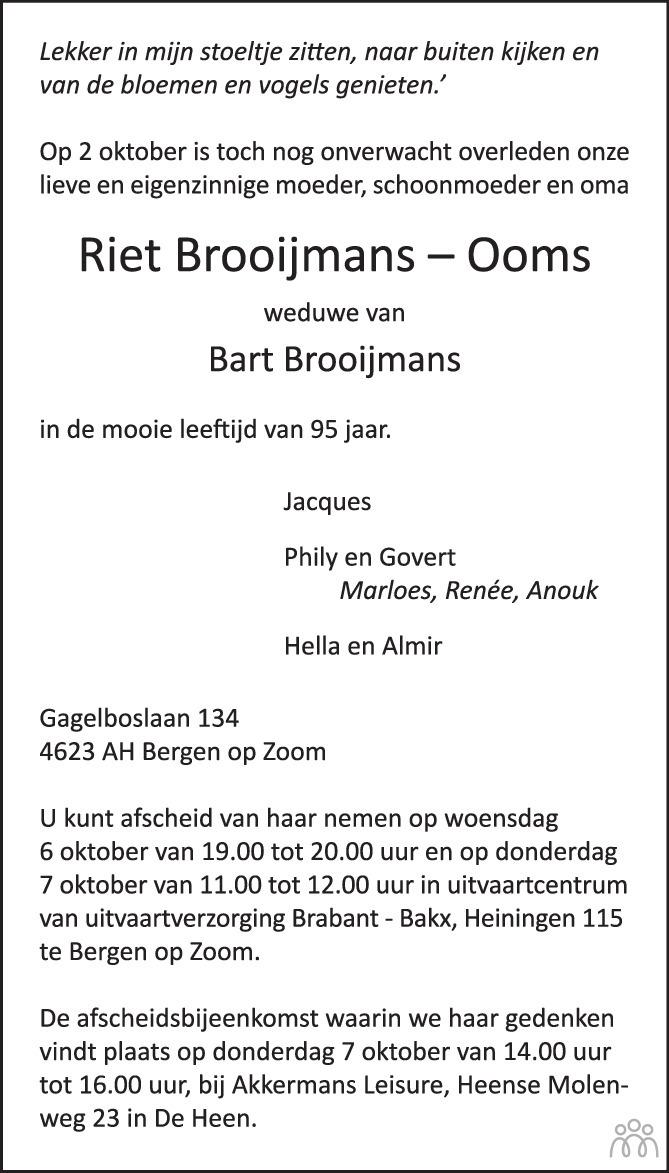 Overlijdensbericht van Riet Brooijmans-Ooms in BN DeStem