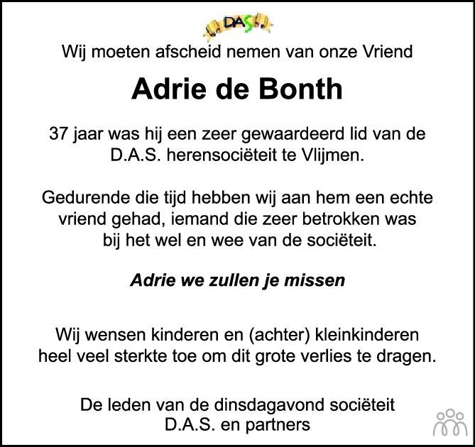 Overlijdensbericht van Adrie de Bonth in Brabants Dagblad