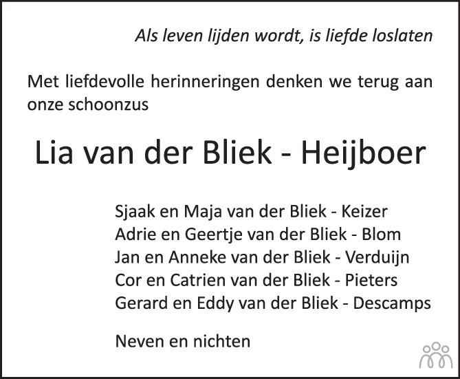 Overlijdensbericht van Lia van der Bliek-Heijboer in PZC Provinciale Zeeuwse Courant