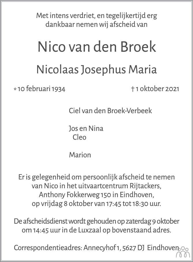 Overlijdensbericht van Nico (Nicolaas Josephus Maria) van den Broek in Eindhovens Dagblad