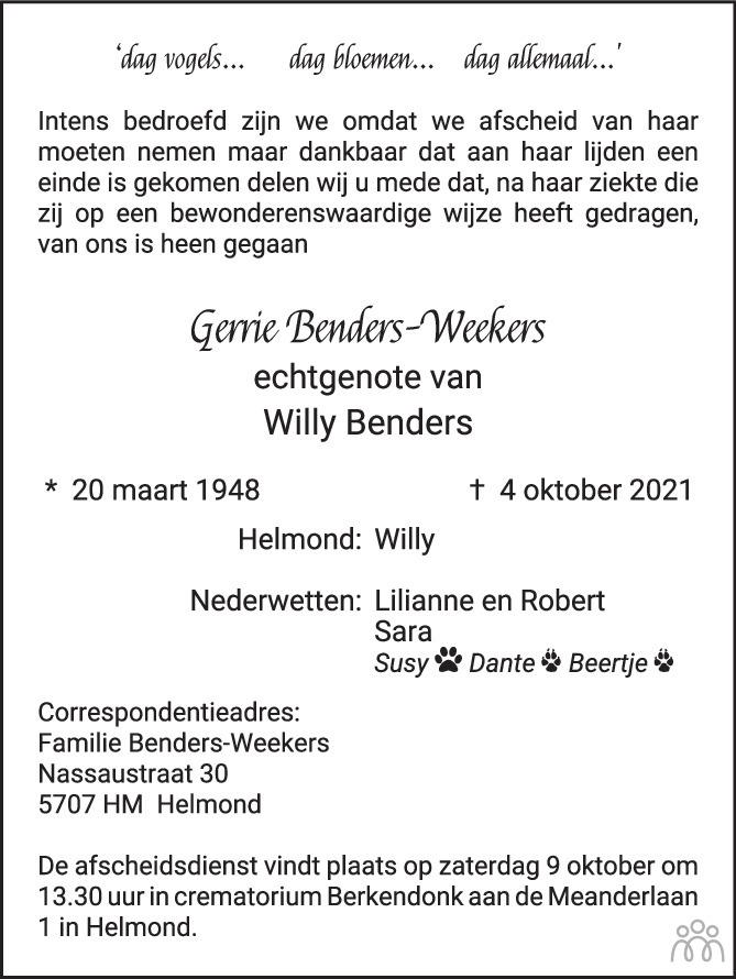 Overlijdensbericht van Gerrie Benders-Weekers in Eindhovens Dagblad