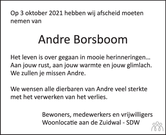 Overlijdensbericht van Andre Borsboom in BN DeStem