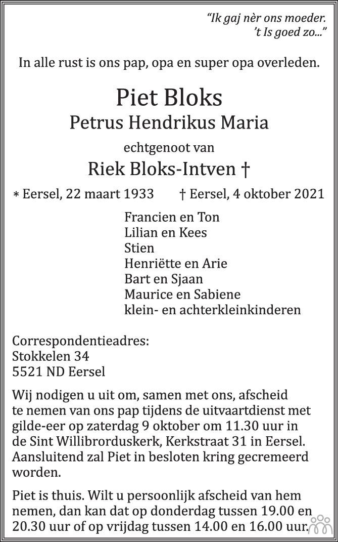 Overlijdensbericht van Piet (Petrus Hendrikus Maria) Bloks in Eindhovens Dagblad