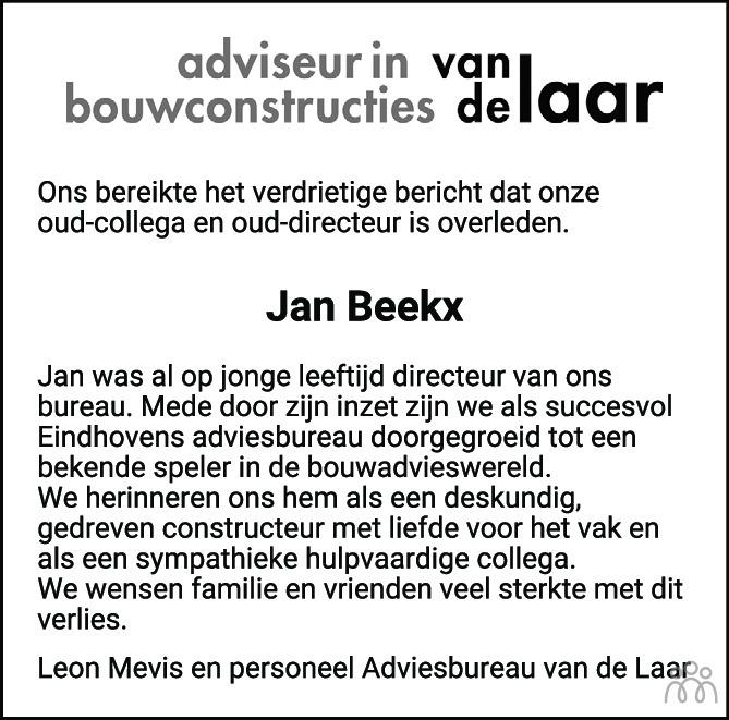 Overlijdensbericht van Jan Beekx in Eindhovens Dagblad