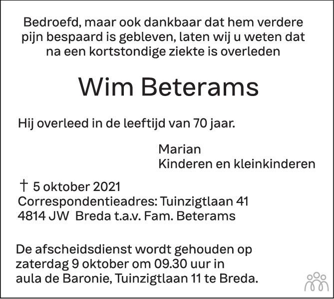 Overlijdensbericht van Wim Beterams in BN DeStem