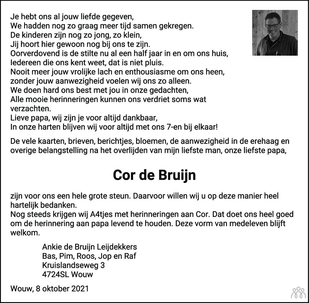 Overlijdensbericht van Cor de Bruijn in BN DeStem