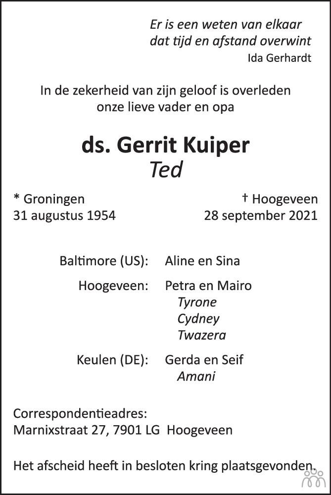 Overlijdensbericht van ds. Gerrit (Ted) Kuiper in Trouw