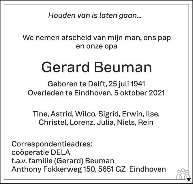 Overlijdensbericht van Gerard Beuman in Eindhovens Dagblad