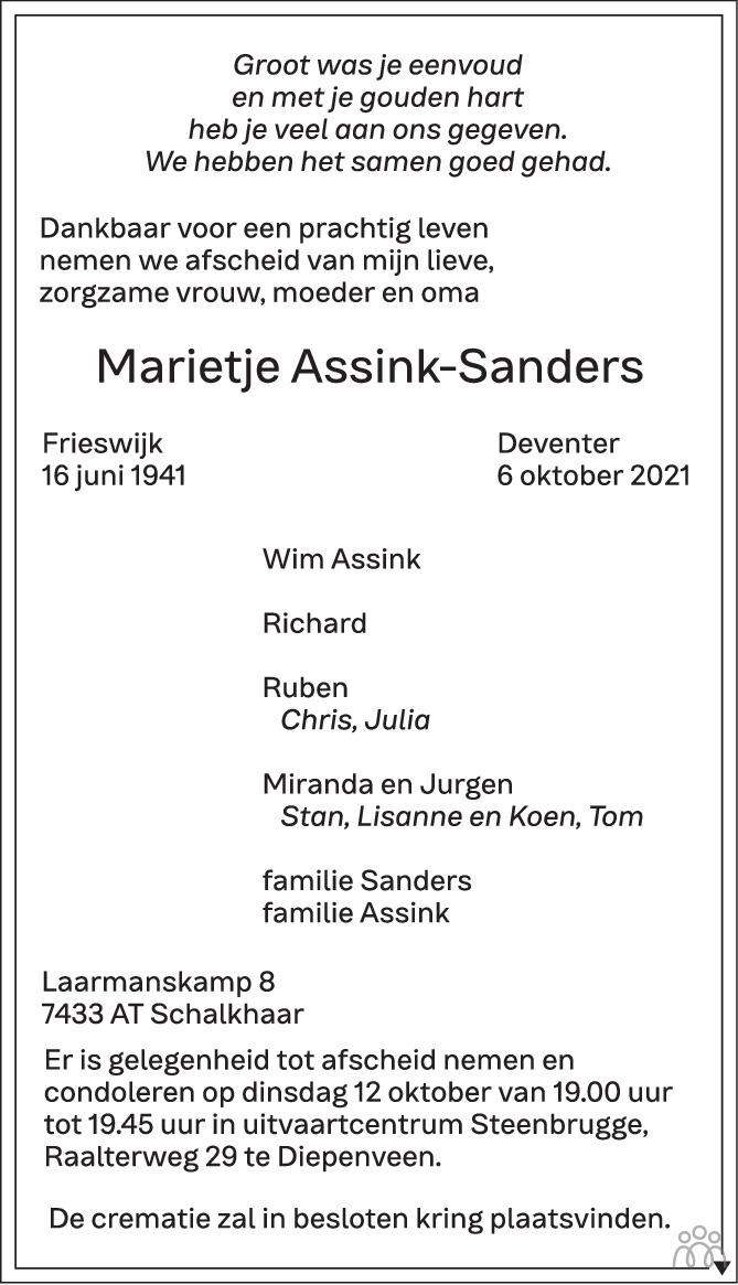 Overlijdensbericht van Marietje Assink-Sanders in de Stentor