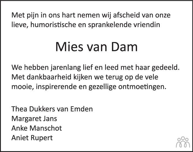 Overlijdensbericht van Mies van Dam in Het Parool