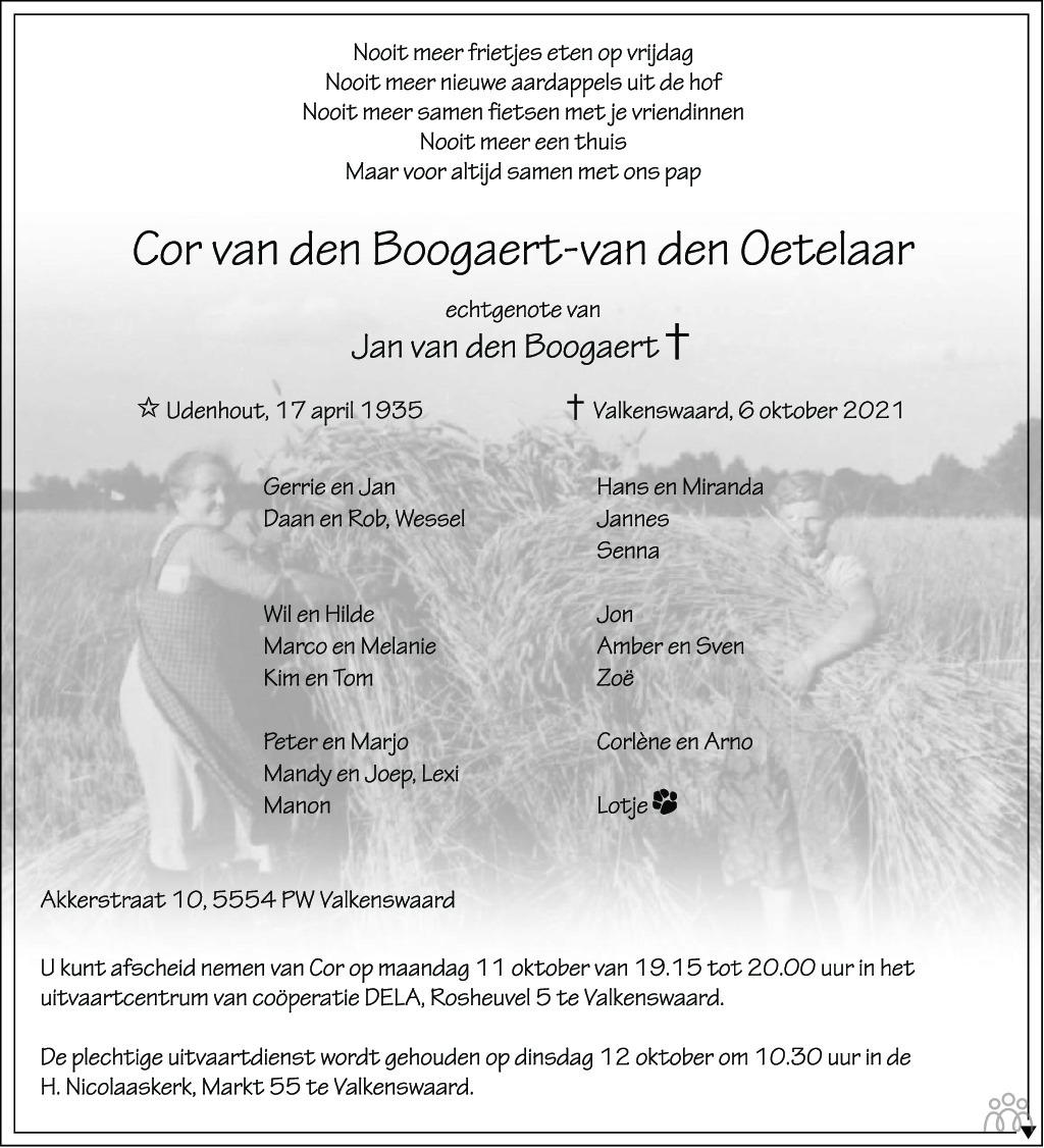 Overlijdensbericht van Cor van den Boogaert-van den Oetelaar in Eindhovens Dagblad