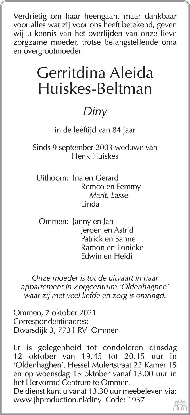 Overlijdensbericht van Gerritdina Aleida (Diny) Huiskes-Beltman in de Stentor