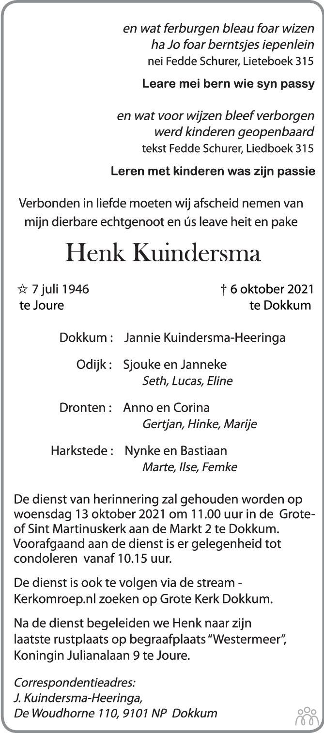 Overlijdensbericht van Henk Kuindersma in Trouw