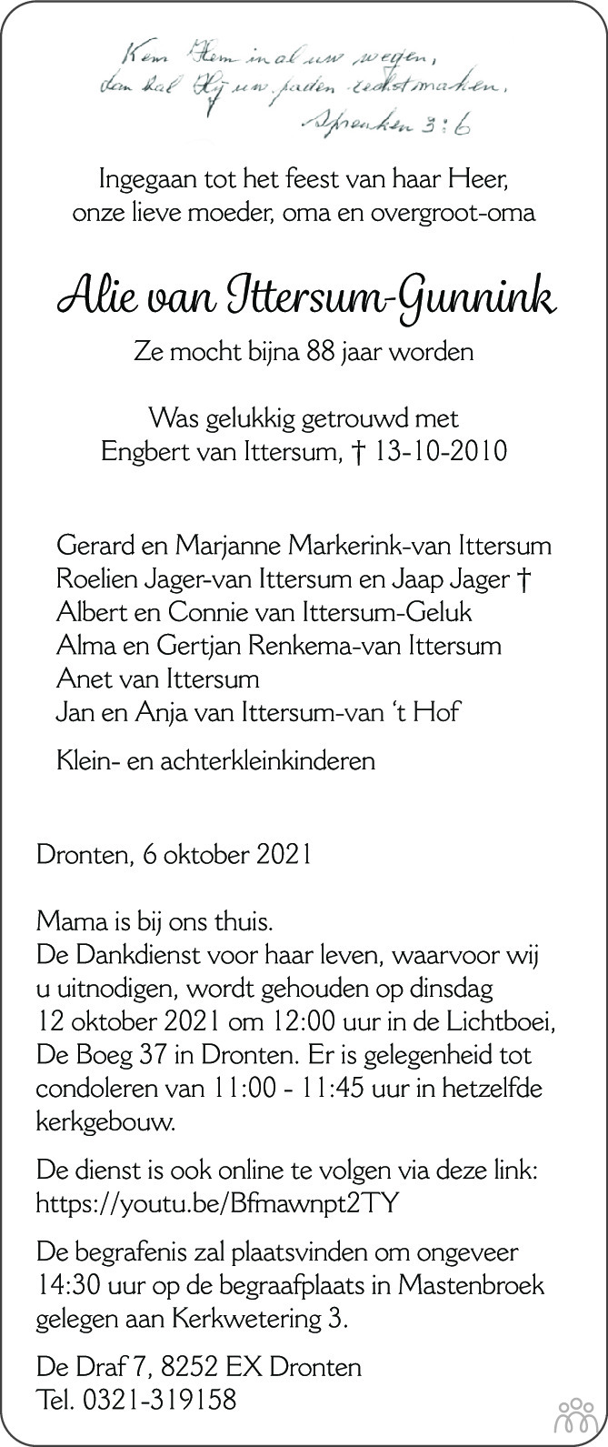 Overlijdensbericht van Alie van Ittersum-Gunnink in de Stentor