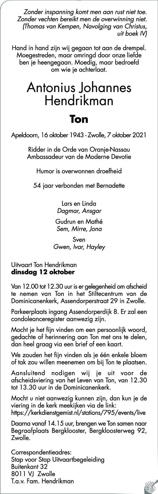 Overlijdensbericht van Antonius Johannes (Ton) Hendrikman in de Stentor