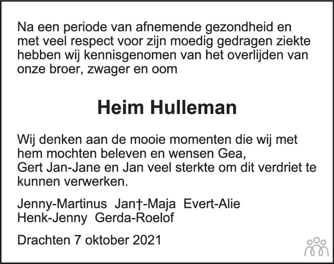 Overlijdensbericht van Heim Hulleman in de Stentor