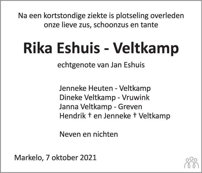 Overlijdensbericht van Riek Eshuis-Veltkamp in Tubantia