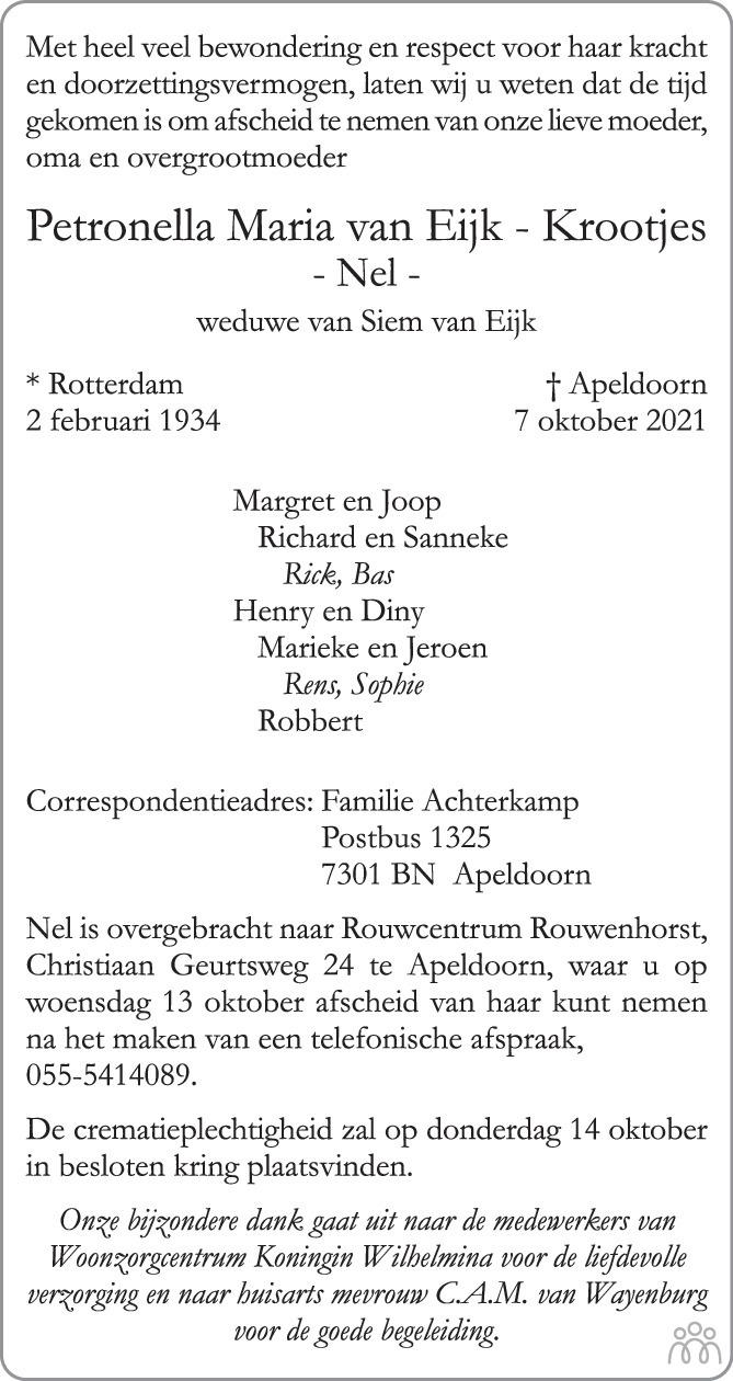 Overlijdensbericht van Petronella María (Nel) van Eijk-Krootjes in de Stentor