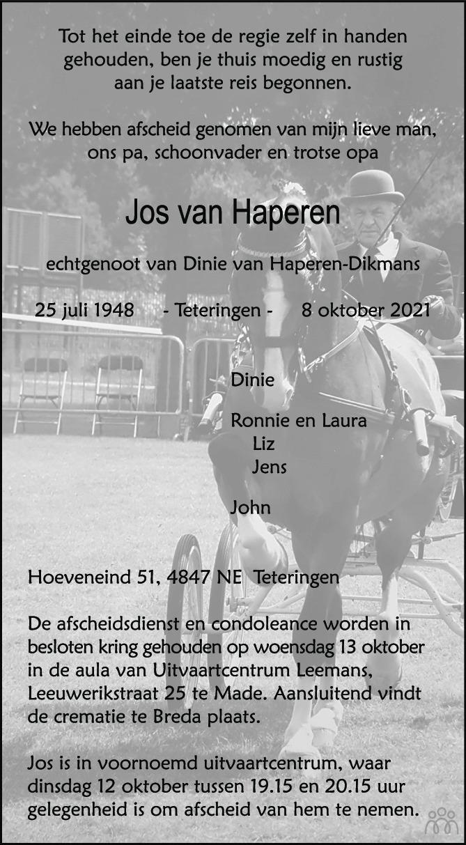 Overlijdensbericht van Jos van Haperen in BN DeStem