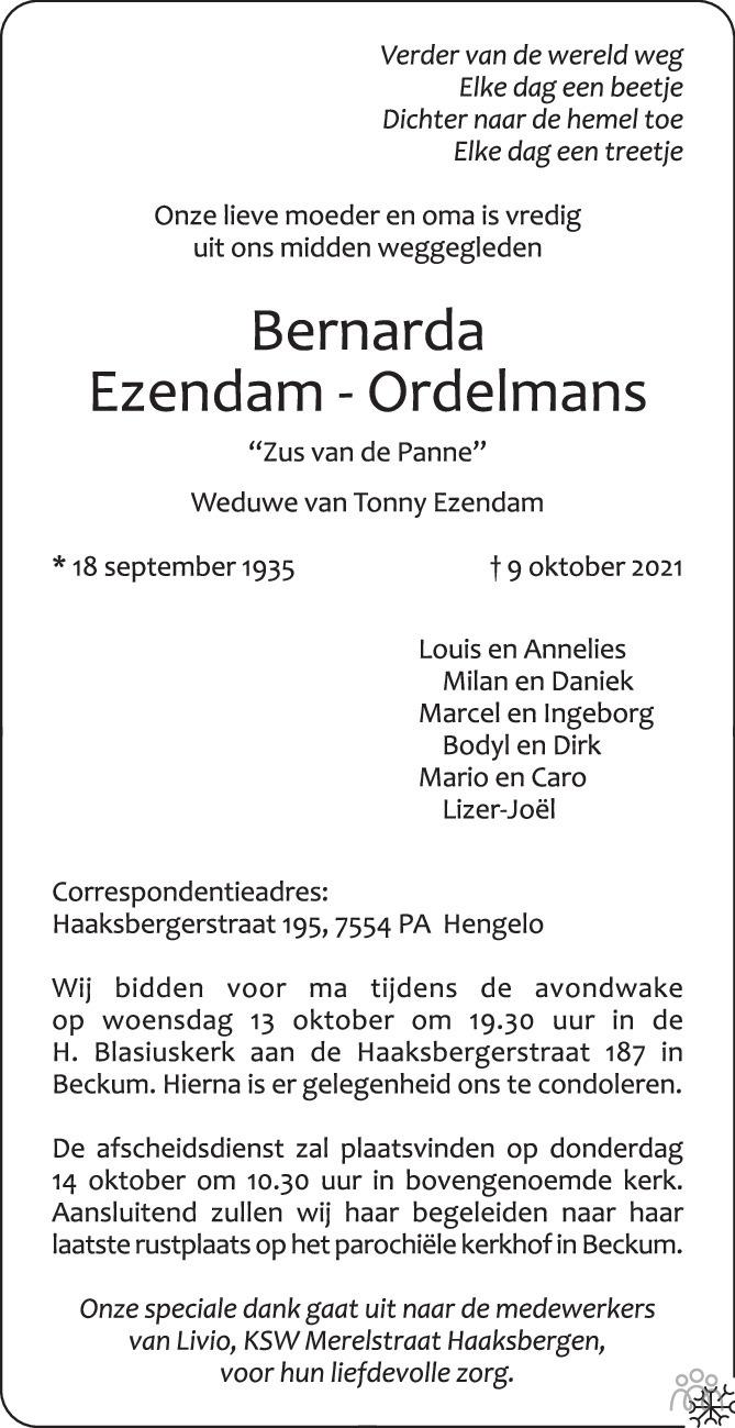 Overlijdensbericht van Bernarda Ezendam-Ordelmans in Tubantia