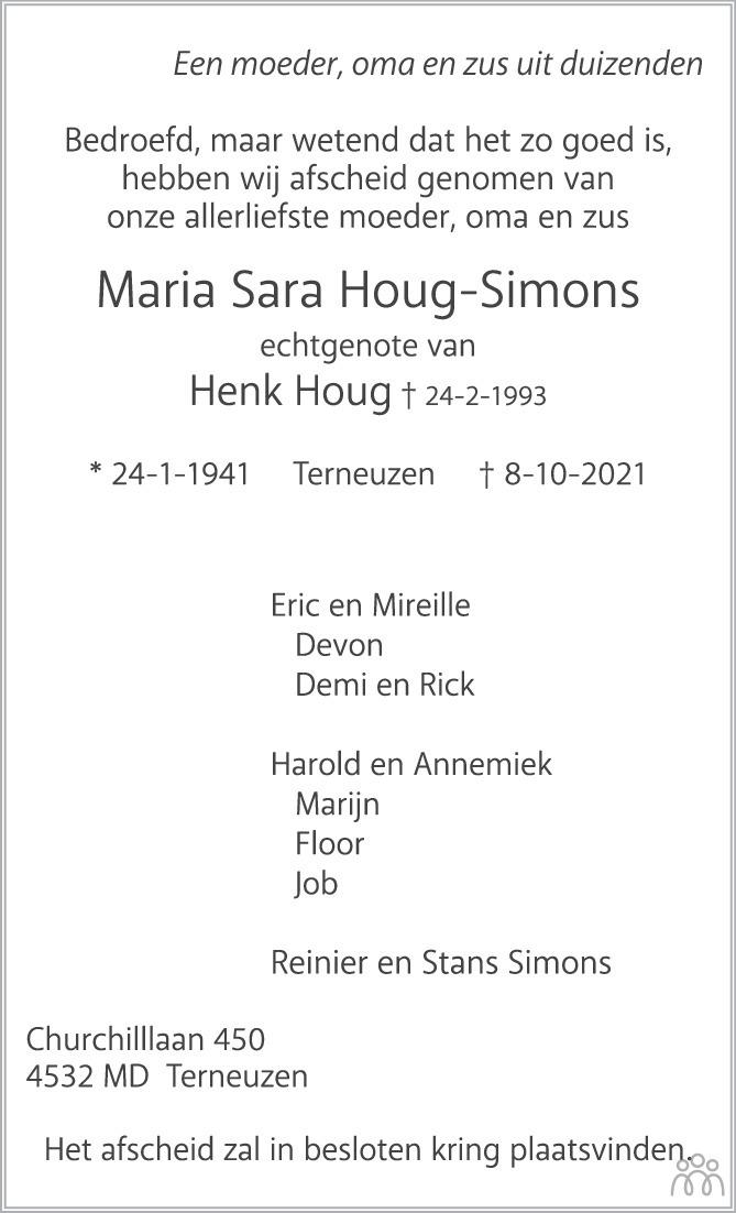 Overlijdensbericht van Maria Sara Houg-Simons in PZC Provinciale Zeeuwse Courant