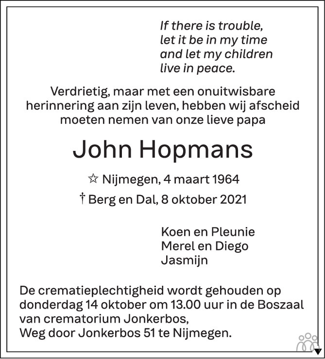Overlijdensbericht van John Hopmans in de Gelderlander
