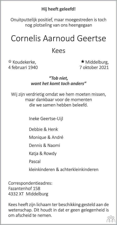 Overlijdensbericht van Cornelis Aarnoud (Kees) Geertse in PZC Provinciale Zeeuwse Courant