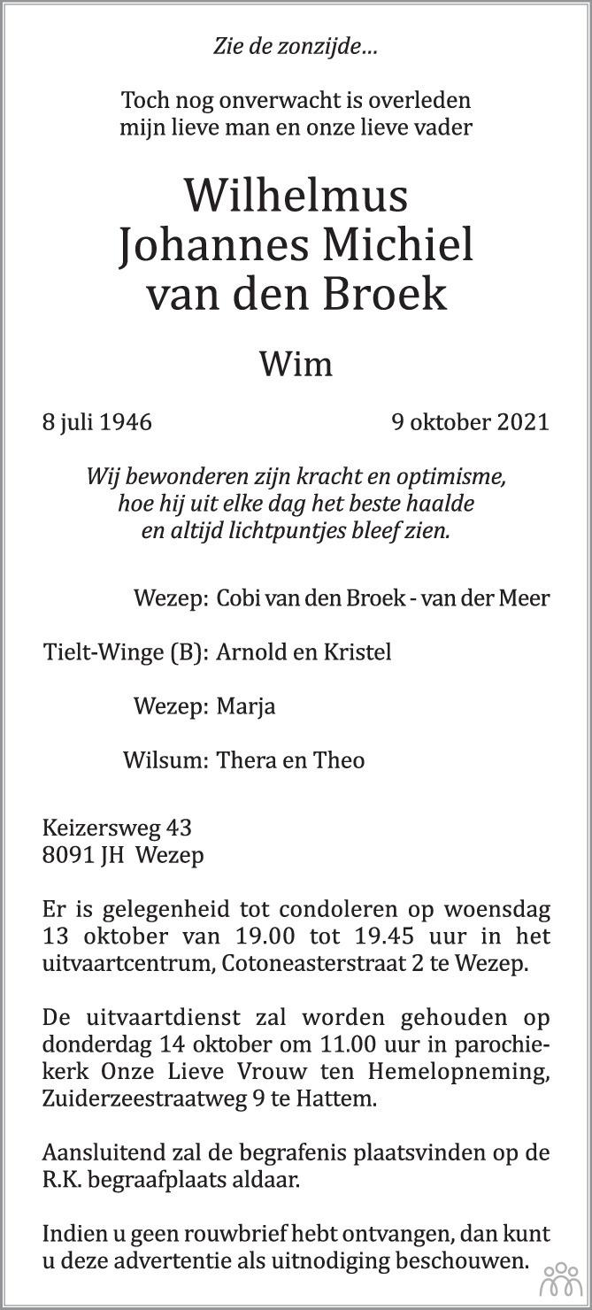 Overlijdensbericht van Wilhelmus Johannes Michiel (Wim) van den Broek in de Stentor